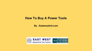 How To Buy A Power Tools