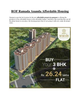 ROF Ramada Ananda Affordable Housing in Gurgaon