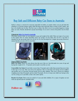 Buy Safe and Efficient Baby Car Seats in Australia