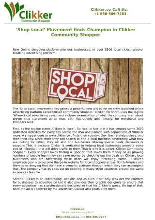 'Shop Local' Movement finds Champion in Clikker Community Shopper