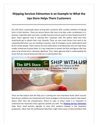 Shipping Services Edmonton Is an Example to What the Ups Store Helps There Customers