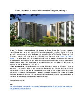 Resale 3 and 4 BHK apartment in Emaar The Enclave Apartment Gurgaon