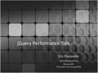 JQuery Performance Tips