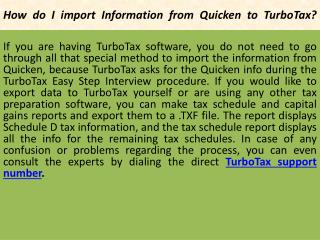 How do I import Information from Quickento TurboTax?