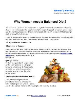 Why Women need a Balanced Diet?