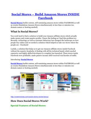 Social Stores review - 65% Discount and FREE $14300 BONUS