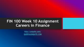 FIN 100 Week 10 Assignment Careers in Finance