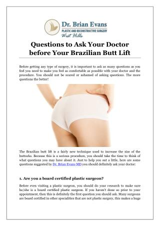 Questions to Ask Your Doctor before Your Brazilian Butt Lift