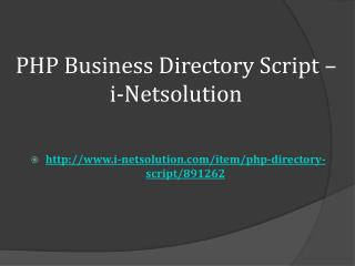 PHP Business Directory Script – i-Netsolution