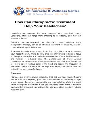 How Can Chiropractic Treatment Help Your Headaches?