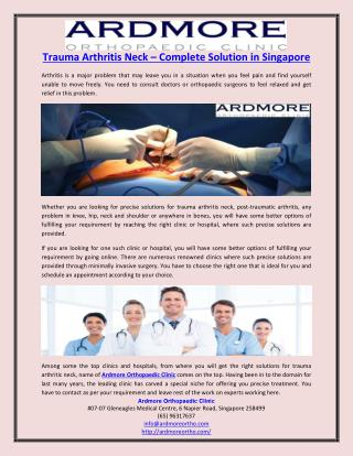 Trauma Arthritis Neck – Complete Solution in Singapore