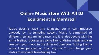 Online Music Store With All DJ Equipment In Montreal