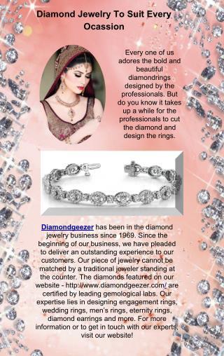 Diamond Jewelry To Suit Every Ocassion