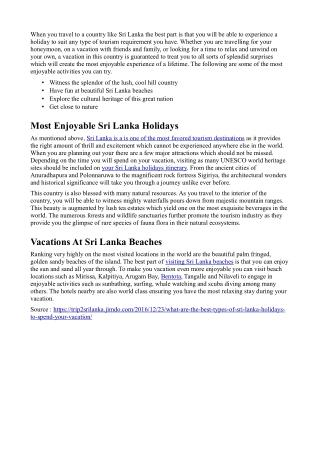 What Are The Best Types Of Sri Lanka Holidays To Spend Your Vacation?