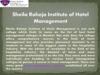 Best hotel management institute