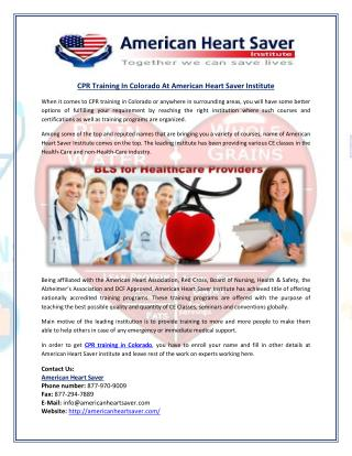 CPR Training In Colorado At American Heart Saver Institute