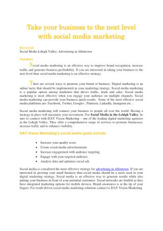 Take your business to the next level with social media marketing