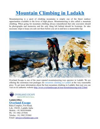 Mountain Climbing in Ladakh