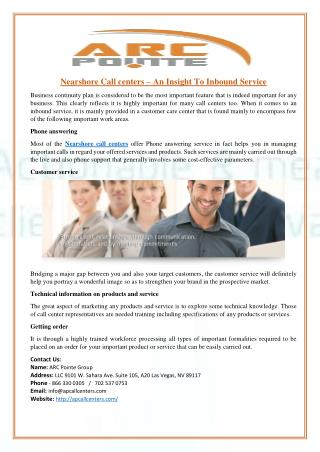 Nearshore Call centers – An Insight To Inbound Service