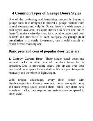 4 Common Types of Garage Doors Styles