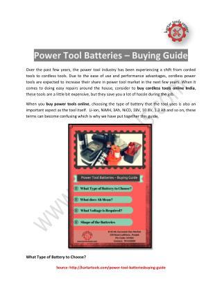 Power Tool Batteries – Buying Guide