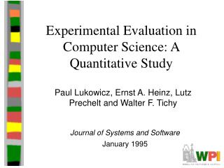 Experimental Evaluation in Computer Science: A Quantitative Study