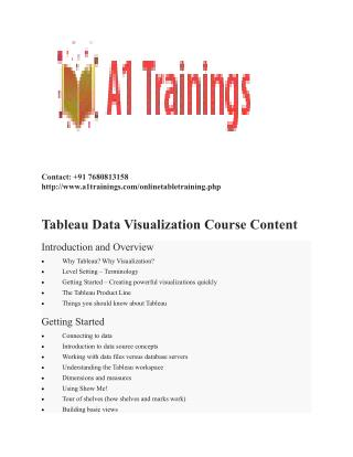 Tableau online trainings-course content
