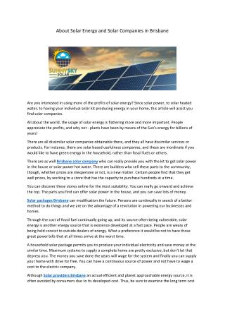 About Solar Energy and Solar Companies in Brisbane