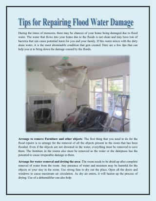 Tips for repairing flood water damage