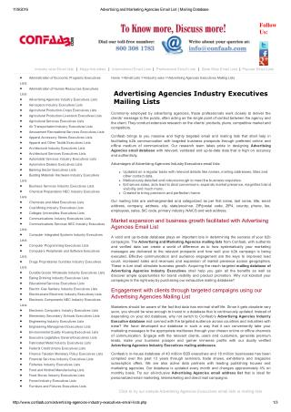 Advertising Agencies Mailing Addresses