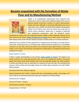 Become acquainted with the formation of Maida Flour and its Manufacturing Method