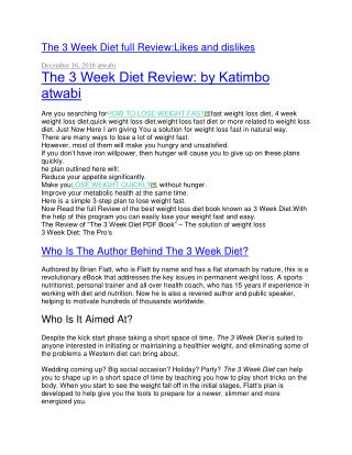 THE 3 WEEK DIET PRODUCT REVIEW