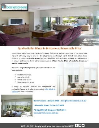 Quality Roller Blinds in Brisbane at Reasonable Price