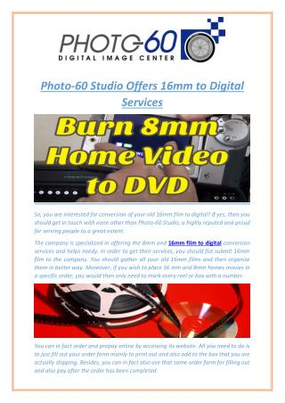 Photo-60 Studio Offers 16mm to Digital Services