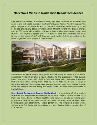 Marvelous Villas in Noida Rise Resort Residences