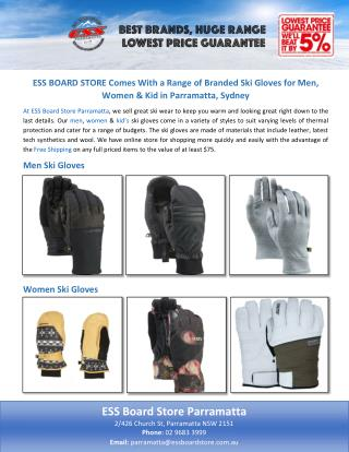 ESS BOARD STORE Comes With a Range of Branded Ski Gloves for Men, Women & Kid in Parramatta, Sydney