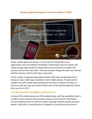 TORONTO APP DEVELOPMENT TRENDS TO FOLLOW IN 2017