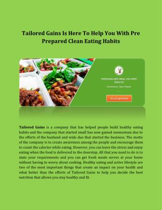 Tailored Gains Is Here To Help You with Pre Prepared Clean Eating Habits