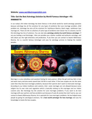 Call @  91-9988868770 Get Astrology Solution by World Famous Astrologer