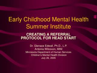 Early Childhood Mental Health Summer Institute