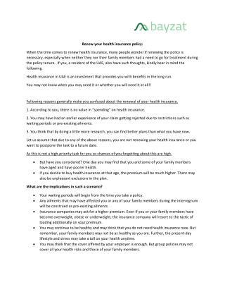 Renew health insurance