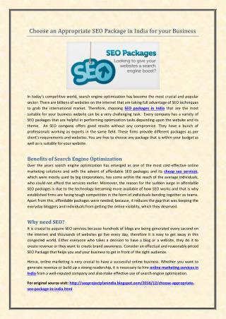 Choose an Appropriate SEO Package in India for your Business