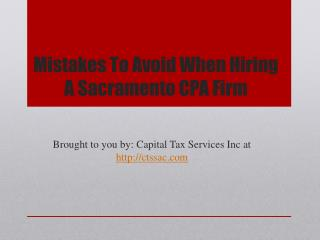 Mistakes To Avoid When Hiring A Sacramento CPA Firm