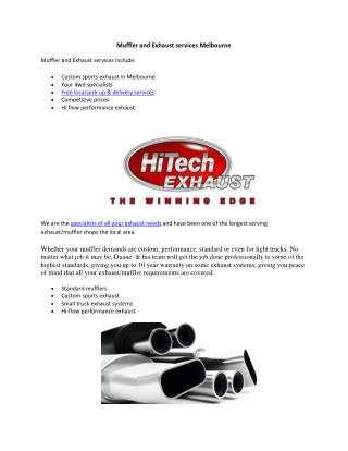 Muffler and Exhaust services Melbourne