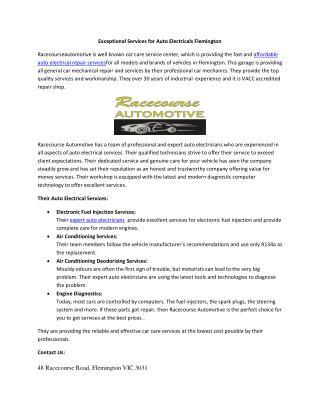 Exceptional Services for Auto Electricals Flemington
