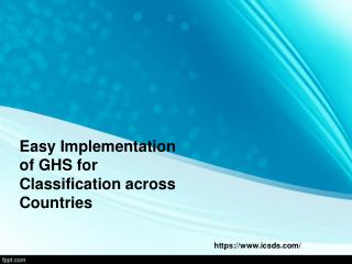 Easy implementation of ghs for classification across countries