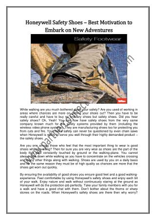 Honeywell Safety Shoes – Best Motivation to Embark on New Adventures