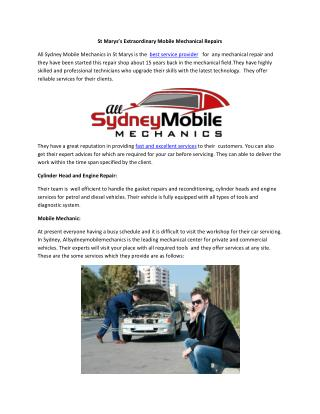 St Marys's Extraordinary Mobile Mechanical Repairs