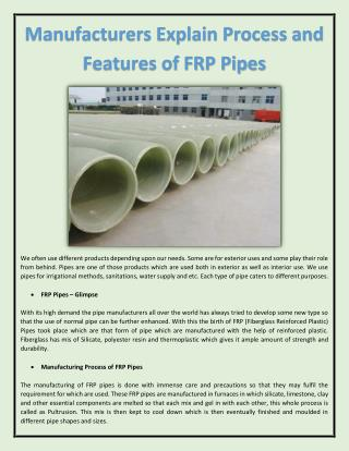 Manufacturers Explain Process and Features of FRP Pipes
