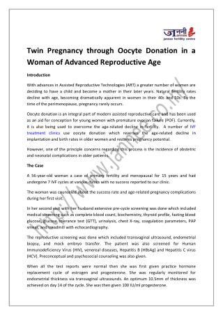 Twin Pregnancy through Oocyte Donation in a Woman of Advanced Reproductive Age